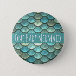 Mermaid Scales in Teal and Silver Button