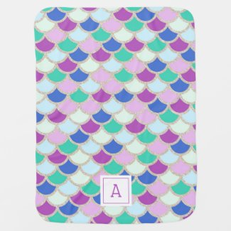 Mermaid Scales Monogram Swaddle Baby Blanket