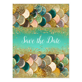 Mermaid Scales Multi Color Glam Chic Save the Date Postcard