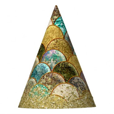 Mermaid Scales Multi Color Gold Birthday Party Party Hat