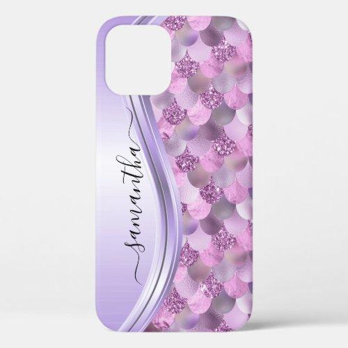 Mermaid Scales Purple Handwritten Name Metal Phone Case