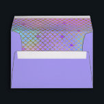 """Mermaid Scales Purple Pastels Gold 5X7 Envelope<br><div class=""""desc"""">Bright 5x7 girly purple envelope lined with colorful pastel and gold mermaid scallops pattern background in rainbow shades of purple, aqua, turquoise, pink and gold with a glitter effect. Pretty, colorful girls envelopes for mermaid birthdays, pastel rainbow party colors, rainbow party, girls birthday party, under the sea or mermaid theme...</div>"""