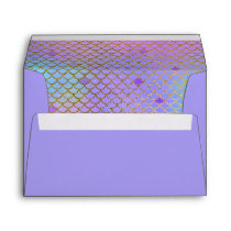 Mermaid Scales Purple Pastels Gold 5X7 Envelope