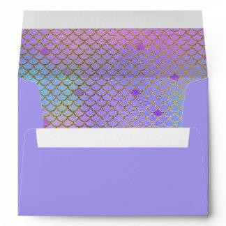 Mermaid Scales Purple Pastels Gold 5X7 Envelope
