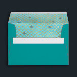 """Mermaid Scales Teal Gold 5X7 Envelope<br><div class=""""desc"""">5x7 girly envelope lined with teal and gold mermaid scallops pattern on aqua turquoise background. Elegant,  girly envelopes for mermaid birthdays,  teal and gold party colors,  girls birthday party,  under the sea or mermaid theme events,  etc. We have coordinating mermaid invitations and party supplies in our Zazzle.com/angela65 shop.</div>"""