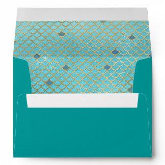 Mermaid Scales Teal Gold 5X7 Envelope