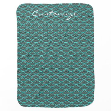Beach Themed mermaid scales Thunder_Cove black/aqua Receiving Blanket