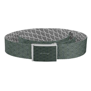 Beach Themed mermaid scales Thunder_Cove black/grey Belt