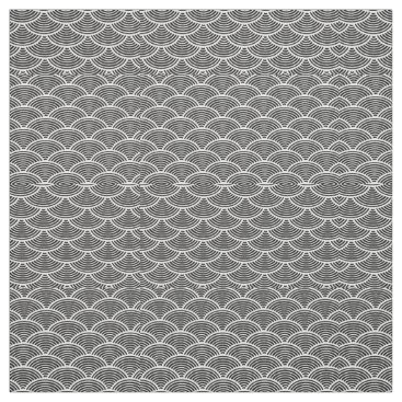Beach Themed mermaid scales Thunder_Cove black/white Fabric