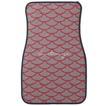 Beach Themed mermaid scales Thunder_Cove grey/red Car Floor Mat