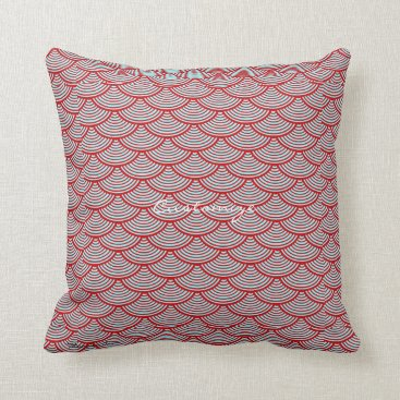 Beach Themed mermaid scales Thunder_Cove grey/red Throw Pillow