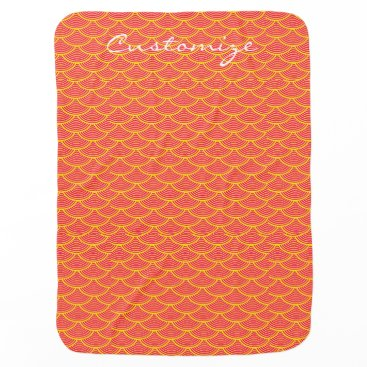 Beach Themed mermaid scales Thunder_Cove red/orange Receiving Blanket