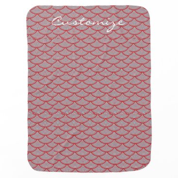 Beach Themed mermaid scales Thunder_Cove red/white Baby Blanket