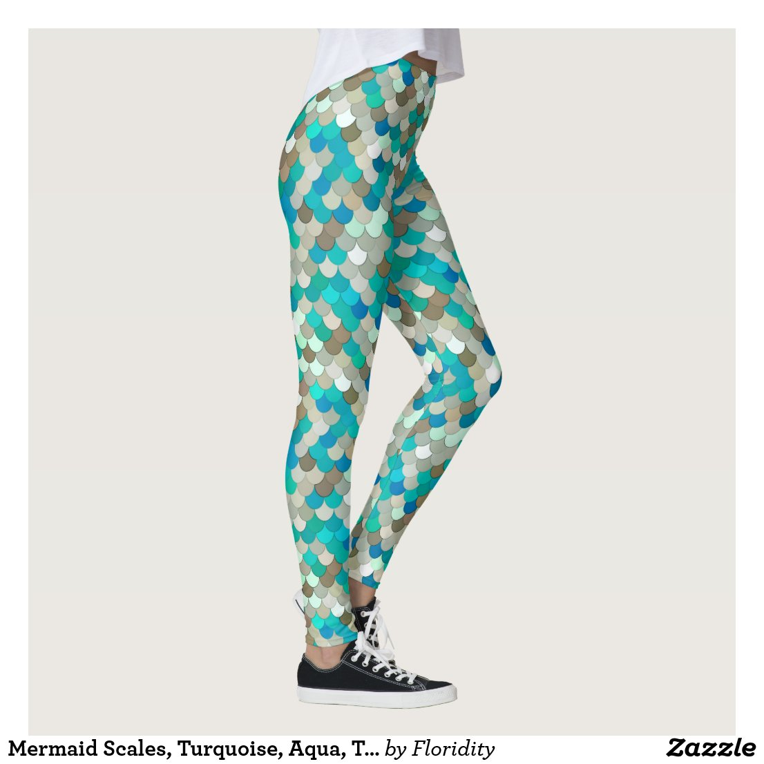 Mermaid Scales, Turquoise, Aqua, Taupe, & Cream Leggings