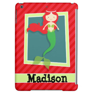 Mermaid; Scarlet Red Stripes Case For iPad Air