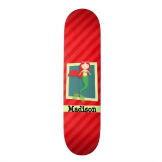 Mermaid; Scarlet Red Stripes Skate Board Deck