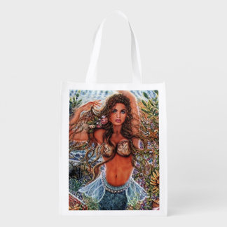 Mermaid Sea Beauty Reusable Grocery Bag