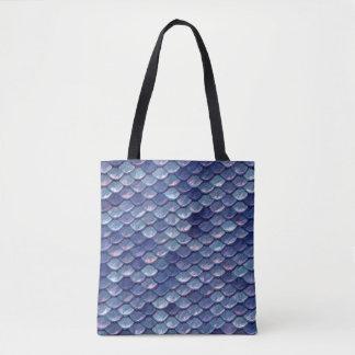 Mermaid Sea Blue Scales tote bag