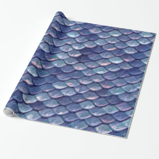 Mermaid Sea Blue Scales Wrapping Paper