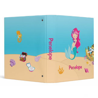 Mermaid Sea Floor Shells Ship Binder 1 Inch
