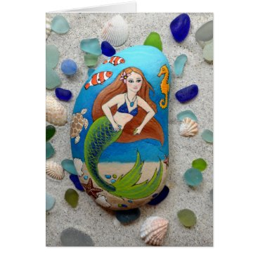 Beach Themed Mermaid, sea glass, shells, art greeting card