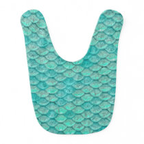 Mermaid Sea Green Scales Baby Bib