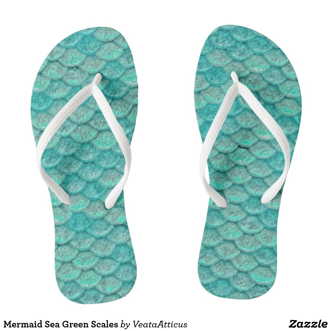 Mermaid Sea Green Scales Flip Flops