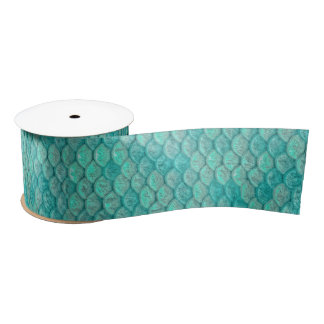 Mermaid Sea Green Scales Satin Ribbon