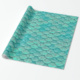 Mermaid Sea Green Scales Wrapping Paper
