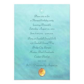 Mermaid Sea Queen Fia Birthday Party Celebration 5.5x7.5 Paper Invitation Card