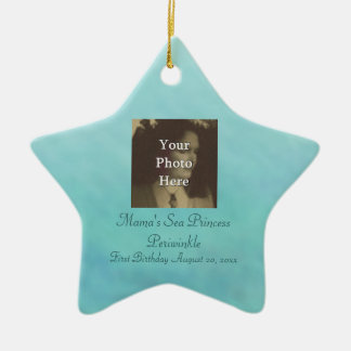 Mermaid Sea Queen Fia Birthday Photo Ready Double-Sided Star Ceramic Christmas Ornament