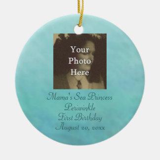 Mermaid Sea Queen Fia Birthday Photo Ready Double-Sided Ceramic Round Christmas Ornament