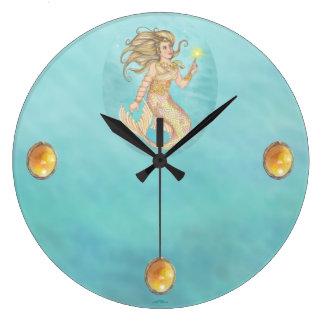Mermaid Sea Queen Fia Fantasy Large Clock