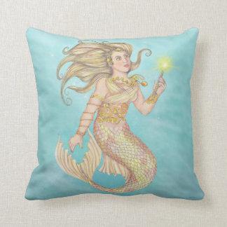 Mermaid Sea Queen Fia Fantasy Throw Pillow