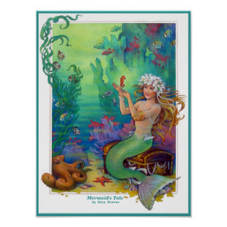 Mermaid, Seahorse, and Octopus Original Art Print