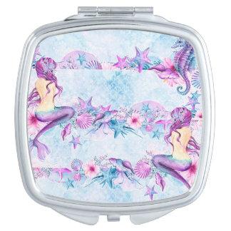 Mermaid Seahorse Starfish Lavender & Blue compact Makeup Mirror