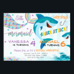 """Mermaid Shark Birthday Party Invitation Siblings<br><div class=""""desc"""">Add the perfect touch to your little ones special day with this Birthday Invitation!</div>"""
