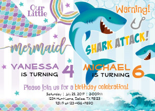 Sibling invitations announcements zazzle mermaid shark birthday party invitation siblings stopboris Image collections