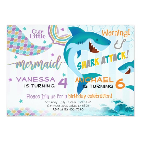 Mermaid Shark Birthday Party Invitation Siblings