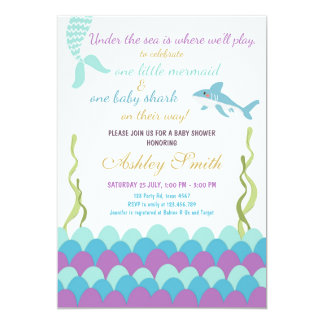 Mermaid Shark Under The Sea Twins Baby Shower Card