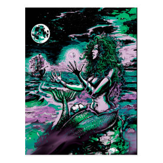 Mermaid Siren Atlantis Pearl Postcard