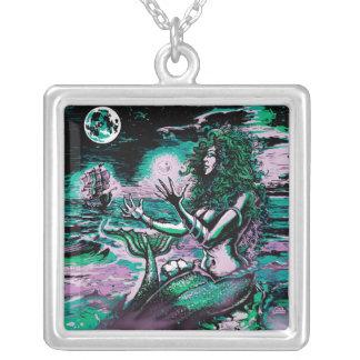 Mermaid Siren Atlantis Pearl Square Pendant Necklace