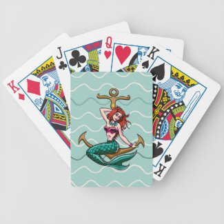 Mermaid Sitting on Anchor Bicycle Playing Cards