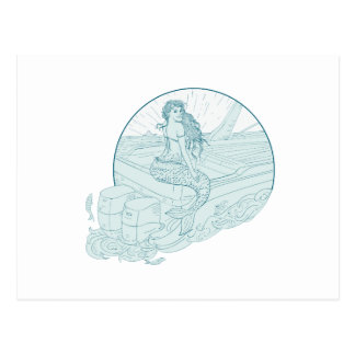 Mermaid Sitting on Boat Drawing Postcard