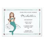 Mermaid sitting on rock girls birthday invitation