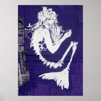 Mermaid Skeleton Abstract Art Poster