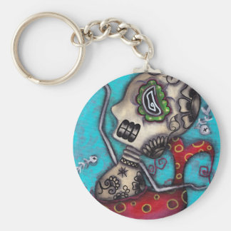 Mermaid Skeleton Day of the Dead Keychain