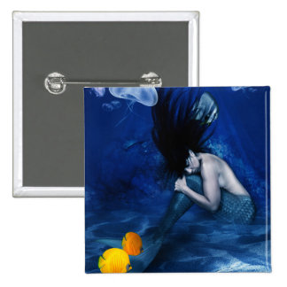Mermaid Sleeping at the Bottom of the Ocean 2 Inch Square Button