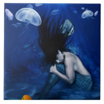 Mermaid Sleeping at the Bottom of the Ocean Ceramic Tile