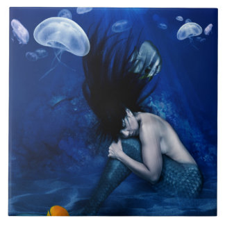 Mermaid Sleeping at the Bottom of the Ocean Ceramic Tile